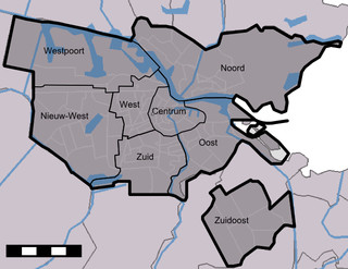 Map of Amsterdam boroughs, districts & areas