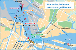 Map of Amsterdam ferry GVB network