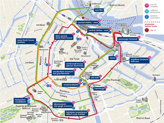 Map of Amsterdam hop on hop off canal cruise with Canal Bus