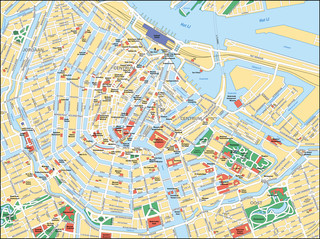 Tourist map of Amsterdam attractions, sightseeing, museums, sites, sights, monuments and landmarks