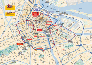 Map of Amsterdam hop on hop off bus tour with City Sightseeing