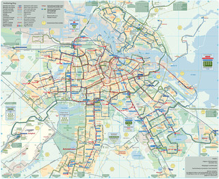 Map of Amsterdam bus GVB network