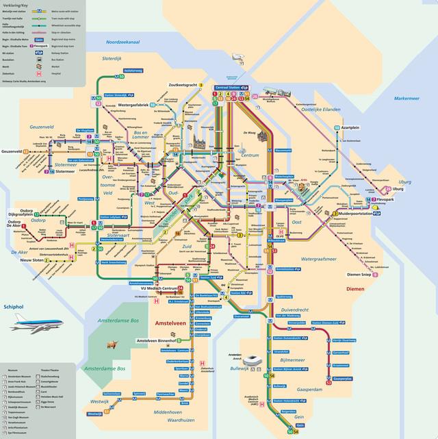 Map of Amsterdam subway, underground & tube (metro): stations & lines